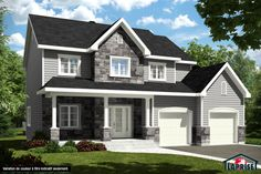 Including Pre-engineered wood siding on 4 sides. Standard corners according to plan. White PVC doors and casement (and Grey Brick Houses, Architectural Shingles, Archi Design, Prefabricated Houses, House Siding, Country Style Homes, My Dream Home, Dream Homes, Architecture Design