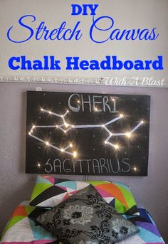 Easy DIY Chalk Headboard depicting a star sign and fairy lights used to light up !