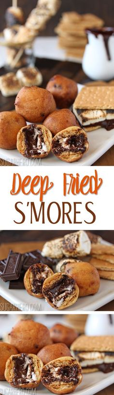Fried S'mores - the best new way to enjoy s'mores! With melted chocolate an Deep Fried S'mores - the best new way to enjoy s'mores! With melted chocolate an. Deep Fried S'mores - the best new way to enjoy s'mores! With melted chocolate an. Deep Fried Desserts, Just Desserts, Delicious Desserts, Dessert Recipes, Yummy Food, Deep Fried Foods, Breakfast Recipes, Deep Fryer Recipes, Carnival Food