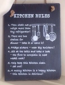 Black Slate Plaque Wall Hanging Kitchen Rules Funny Shabby Chic Vintage Sign