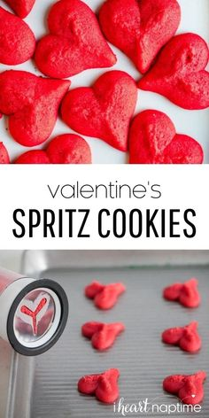These traditional buttery and sweet spritz cookies are so yummy! All you need is a hand full of ingredients, a cookie press, and your favorite sprinkles to make these festive cookies in under an hour! #spritz #spritzcookies #cookies #buttercookies #cookierecipes #valentines #valentine #valentinesday #valentinesdaydesserts #desserts #recipes #iheartnaptime Valentines Day Desserts, Cute Desserts, Valentine Treats, Dessert Recipes, Homemade Donuts, Homemade Cookies, Homemade Chocolate, Spritz Cookie Recipe, Spritz Cookies