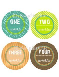 Baby Monthly Onesie Stickers Blue Green Orange Brown Mod lil man  DIY Printable PDF Digital files. $4.95, via Etsy.