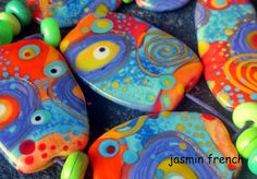 jasmin french ' andromeda ' lampwork art glass beads set ooak