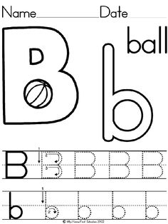 B is for Ball writing page