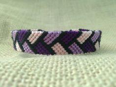 Friendship Bracelet - Purple, Light Purple, Baby Pink & Black Braided Pattern
