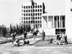 Eur Campo lungo, operai lavorano alla costruzione di un tratto di strada, il Palazzo della Civiltà e del Lavoro sullo sfondo 27.02.1940