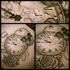 skull, pocket watch, rose by Edward Miller