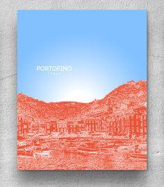 Portofino Italy City Skyline Poster / Travel City Art Poster / Modern Home Decor / Any City or Landmark