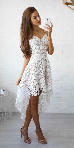 2017 White Hi-Lo Lace V-Neck Straps Spaghettis Homecoming Dresses