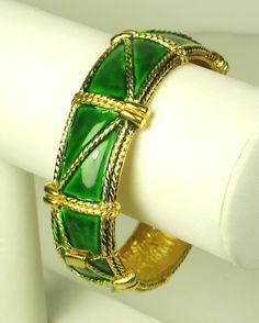 Hattie Carnegie Green Enamel Hinge Clamper Bracelet