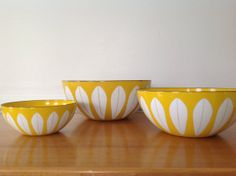 Rare CathrineHolm Lotus Yellow Enamel Bowl  9.5 by TheWelcomeTable, $125.00