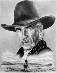 Sam Elliott - one of 2 people with the best voices (the other is my hubby) And my hubby would definitely understand why I pinned this (The Lone Rider Drawing  - The Lone Rider Fine Art Print)