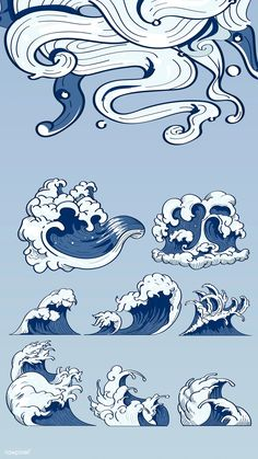 Illustration of Blue Japanese wave background collection vectors vector art, clipart and stock vectors. Sea Drawing, Wave Drawing, Japanese Artwork, Japanese Tattoo Art, Japanese Wave Painting, Japanese Drawings, Japanese Prints, Vague Illustration, Cloud Illustration