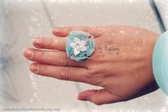 Blue Flower ring Flower fabric ring Rose ring by KaGeyWonderworks, $8.50