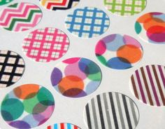 Washi Tape Round Stickers / / Washi Envelope Seals by ChambyandCor, £1.50