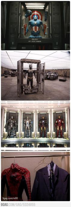 Superheroes Wardrobes. I can relate to Spidey{==yeah except for the fake that I'm NOT A STINKING SUPERHERO :'(