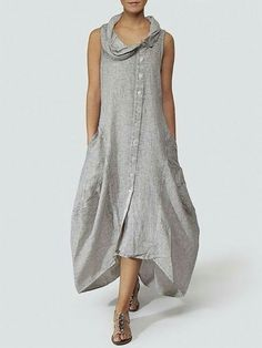Gray Solid Basic Cocoon Casual Dress