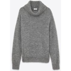 Saint Laurent Oversized Grunge Turtleneck ($990) ❤ liked on Polyvore featuring tops, sweaters, saint laurent, jumper, open-knit sweater, ribbed sweater, turtleneck sweater, oversized turtleneck sweater and mohair sweater