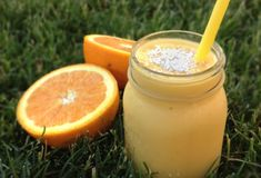 Rise and Shine Smoothie - 3 cups Almond or Coconut Milk 2 Ripe Bananas, peeled 1-1/2 Seedless Navel Oranges, peeled and sectioned 2-1/2 cups Frozen Mango Chunks Shredded Coconut, for garnish #vegan