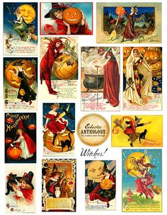 Free Printable Vintage Witch Graphics Halloween Collage Sheet-vintage, witch, graphics, halloween, public domain, commercial use, printable