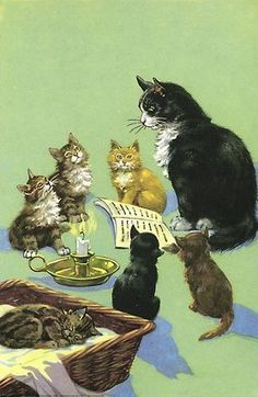 """Illustration from """"Puppies And Kittens"""" by M. Gagg, illustrated by H. Ladybird Books l I Love Cats, Crazy Cats, Cute Cats, Ladybird Books, Illustrator, Gatos Cats, Photo Chat, Vintage Cat, Cat Drawing"""
