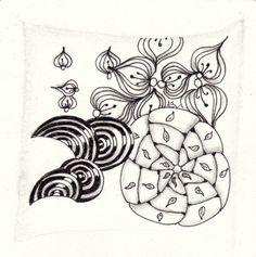 Ein Zentangle aus den Mustern Disco, Rauschi, Wrap, gezeichnet von Ela Rieger, CZT