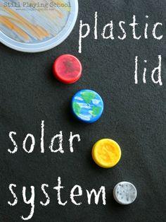 Super cool! Sistema solar hecho con tapitas de plástico. Ecológico, práctico y económico!