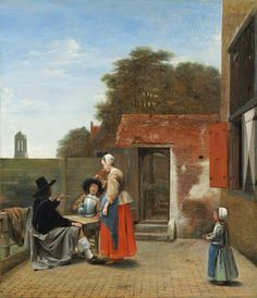 "Pieter de Hooch, ""A Dutch Courtyard,"" 1658/1660, oil on canvas, National Gallery of Art, Washington, Andrew W. Mellon Collection"
