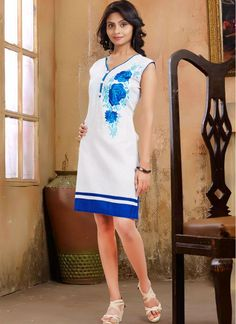 Extravagant White Embroidery Work and Lace Work Cotton  Trendy Kurti