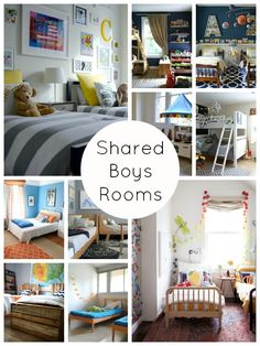 Get some decoration inspiration for the little men in your life. Shared Boys Rooms via Shoes Off Please