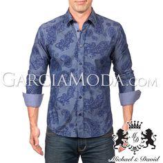 Camisa Michael & David Luxury Menswear MD-579 Navy Paisley