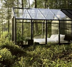 Garden Shed by architect Ville Hara & designer Linda Bergroth. Bergroth's customized version of the prefab greenhouse+shed combo acts as a summer house on a Finnish island. Outdoor Bedroom, Garden Bedroom, Outdoor Living, Dream Bedroom, Summer Bedroom, Forest Bedroom, Peaceful Bedroom, Cozy Bedroom, Night Bedroom