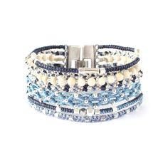 All One, #armband i #blått, #silver och #benvitt. #Fairtrade från #Guatemala.