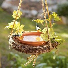 Grapevine wreath bird bath