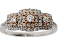 Genuine .50ct Diamond 3 Stone Ring 14KT 2 Tone Gold