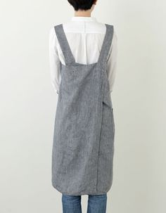 Cross Apron: Linen Denim by Fog Linen. No tie, cross-back.