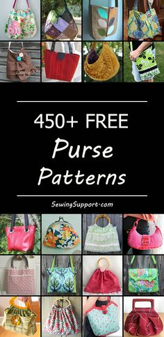 Over 450 free sewing patterns for purses. #pursepatterns #bagpatterns