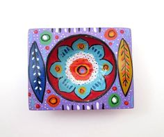 COLORFUL WOODEN JEWELRY DISH TRAY  ~ GUATEMALAN DESIGN ~ PURPLE ~ NEW