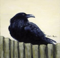 "Raven painting- ""PEEKABOO""- Whimsical Raven Oil Painting by artist Cristina Del Sol"