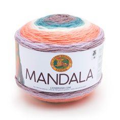 Mandala® Yarn New from Lion Brand. This color is Pegasus Lion Brand Mandala Yarn, Lion Brand Yarn, Crochet Hook Sizes, Crochet Yarn, Afghan Crochet, Tunisian Crochet, Knitting Needles, Knitting Yarn, Wool Yarn