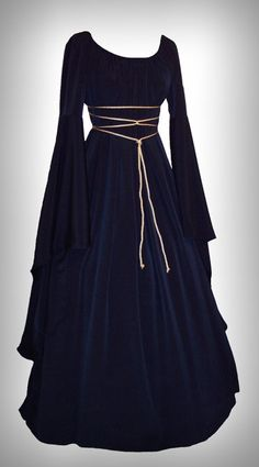 Medieval/Renaissance Black Satin Trumpet Sleeve Costume Gown   No clue why I'd need it, but it's beautiful  I want to wear it.