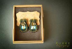 Green soutache earrings  Swarovski earrings Women by pUkke on Etsy