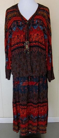 Carole Little  2 Piece Long Skirt & Long Sleeve Top Rayon Women's Size 8 #CaroleLittle #2Piece