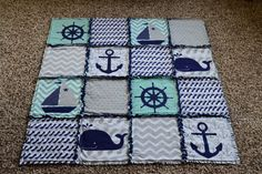 Baby Rag Quilt Nautical Baby Quilt Anchor Whale by SnugasaBuggg
