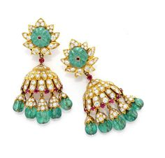 FD GALLERY   Van Cleef & Arpels   A Pair of Fluted Emerald Bead, Ruby and Diamond Ear Pendants, circa 1963