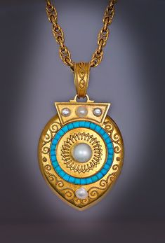 An Archaeological Revival Gold, Pearl and Turquoise Locket Pendant, St. Petersburg, circa 1885, by Alexander Treiden