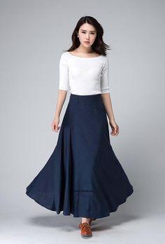 Falda azul oscura falda lino maxi falda falda de caída una