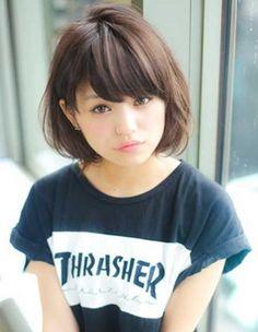 Asian girls hairstyles with bangs #medium #short #2015 #cute