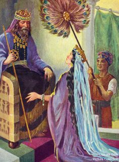 Esther 8 Bible Pictures: Esther before the King Xerxes I during the time of the Persian Empire.