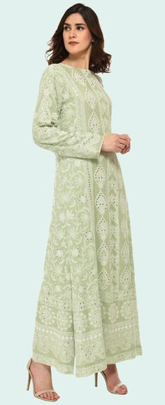Sage Green Chikankari And Kamdani Peshwa Floor Length Suit
